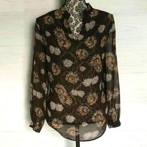 Ro & De Sheer Top Size Small Floral High Neck Long